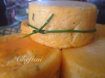 Polenta Cakes with Cheddar and Sour Cream