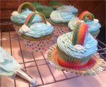 Rainbow Cupcakes with frosting, airhead extreme rainbow and marshmallow clouds