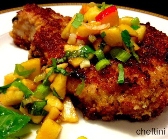 Panko Breaded Pork Chops with Peach Relish