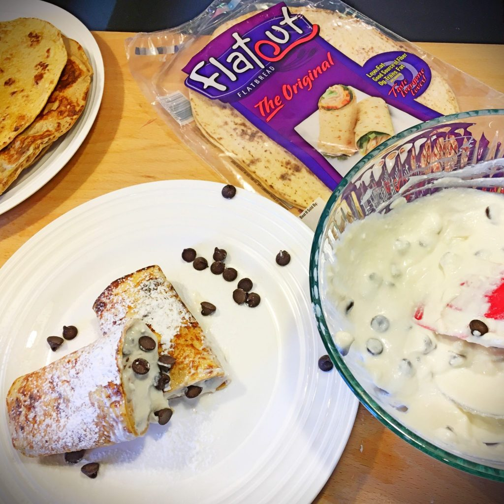 Flatout Bread French Toast Chcolate Chip Cannoli Roll Ups