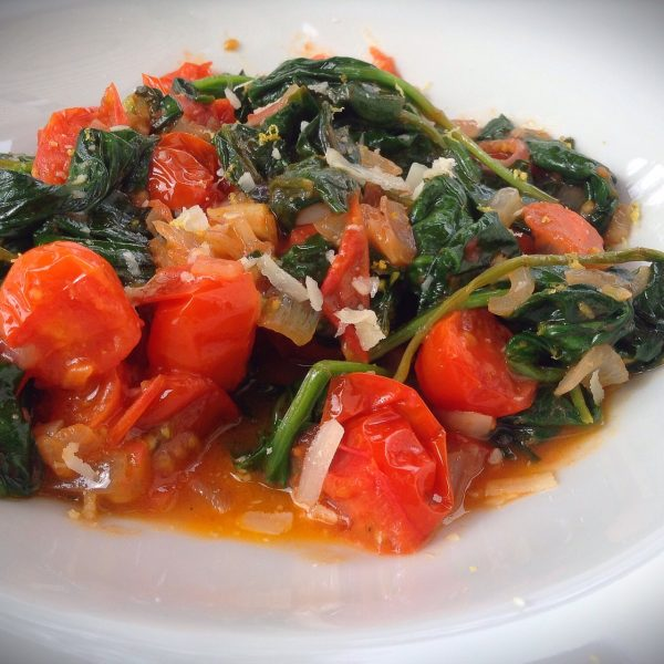Baby Spinach and Tomato Saute
