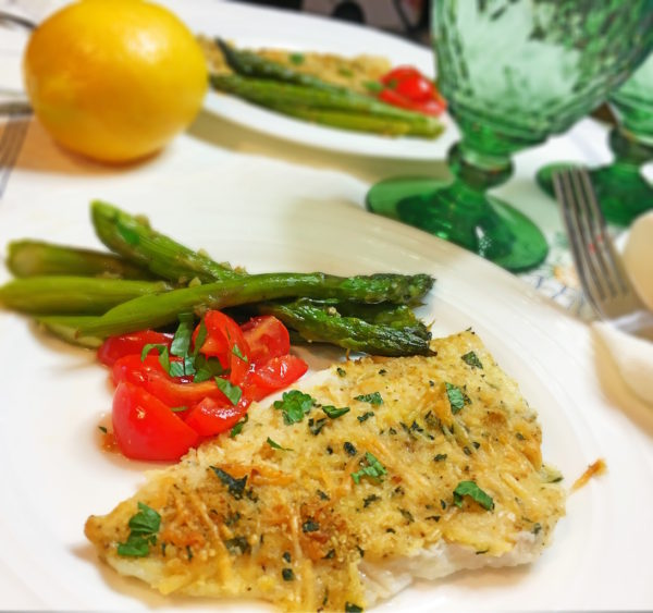 Dijon Baked Flounder Filet and Asparagus