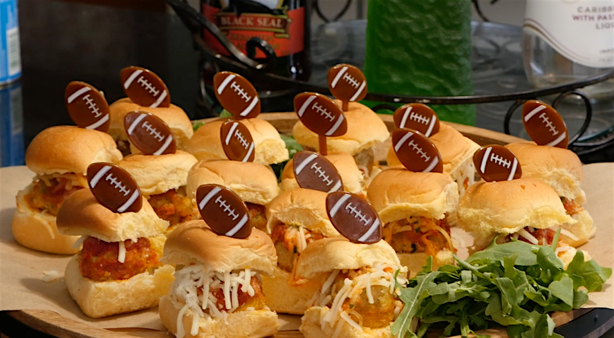 Cheftini's Kitchen Game Day PREMIO Chicken Sausage Meatball Sliders